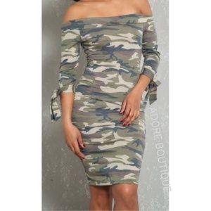 Dresses & Skirts - Camo Off Shoulder Dress